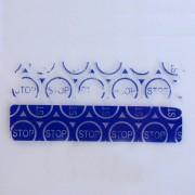 Пломба наклейка STOP синяя матовая