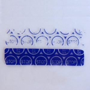 Пломба наклейка STOP синяя матовая из полиэстера 31186