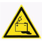 Предупреждающий знак «Аккумуляторные батареи» (W20)
