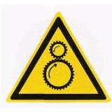Предупреждающий знак «Возможно затягивание между вращающимися элементами» (W28)