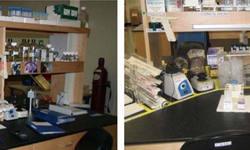 Стол в лаборатории. Слева ДО, справа ПОСЛЕ внедрения 5S