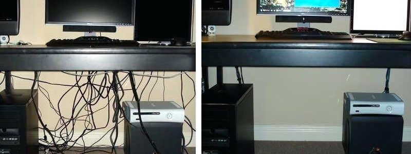 Компьютерный стол. Слева ДО, справа ПОСЛЕ внедрения 5S