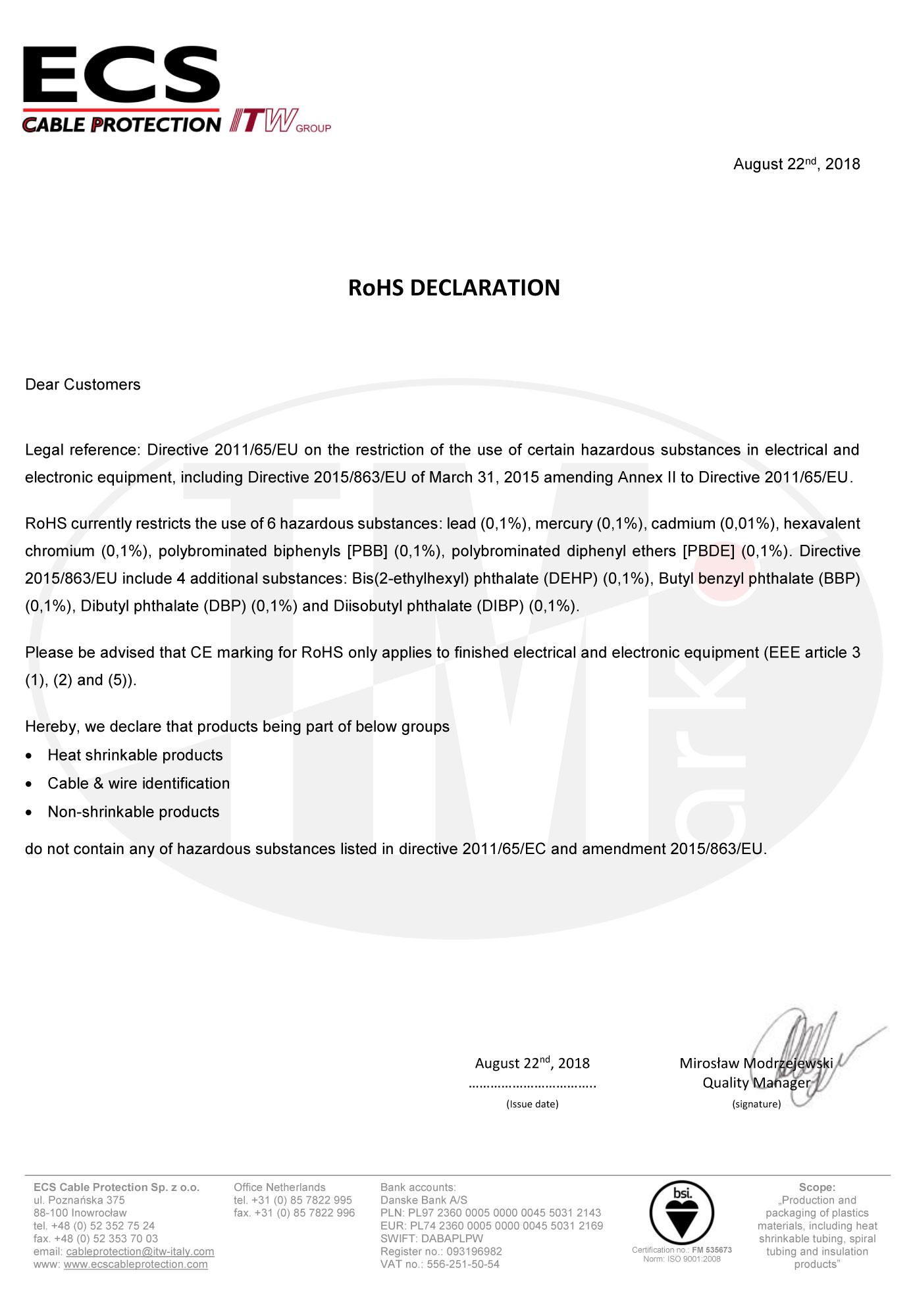 Сертификат RoHS для ECS Cable Protection
