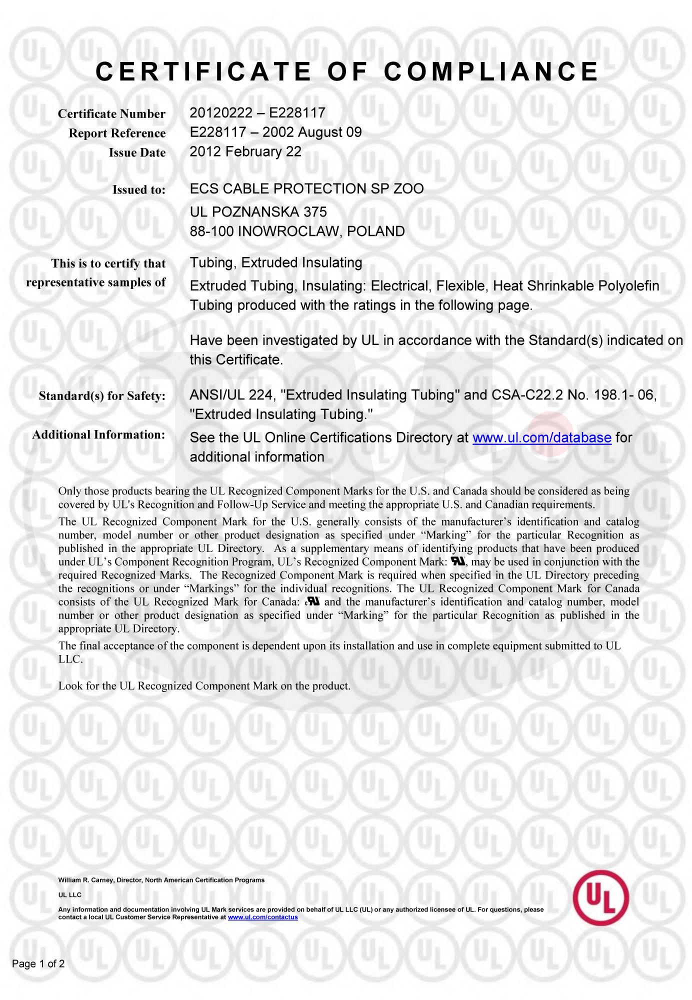 Сертификат UL для ECS Cable Protection