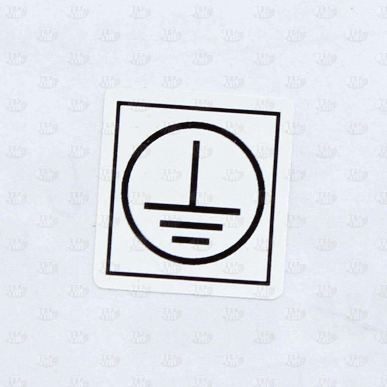 Этикетки 40*40 мм со знаком заземление из белого полиэстера