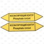 Этикетки для маркировки трубопровода 250*52 мм фосфатирующий контур